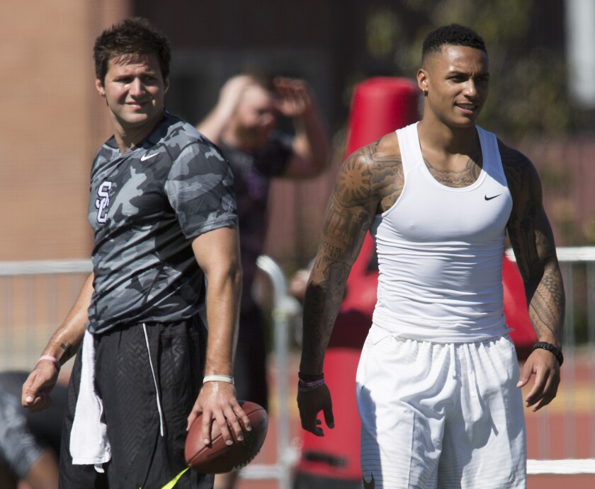 USC pro prospects quarterback Cody Kessler, left, and linebacker/safety Su'a Cravens, right, during the Trojans' annual NFL pro day.