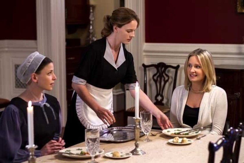 """Julia Whelan, left, Katie Leclerc and Sherry Stringfield in """"The Confession"""" on the Hallmark Channel."""