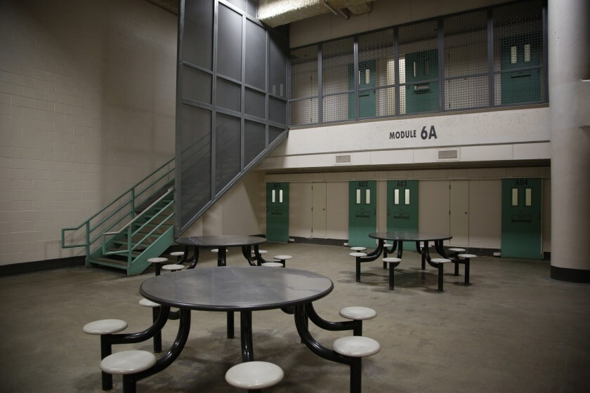 An empty common area in a San Diego County Jail