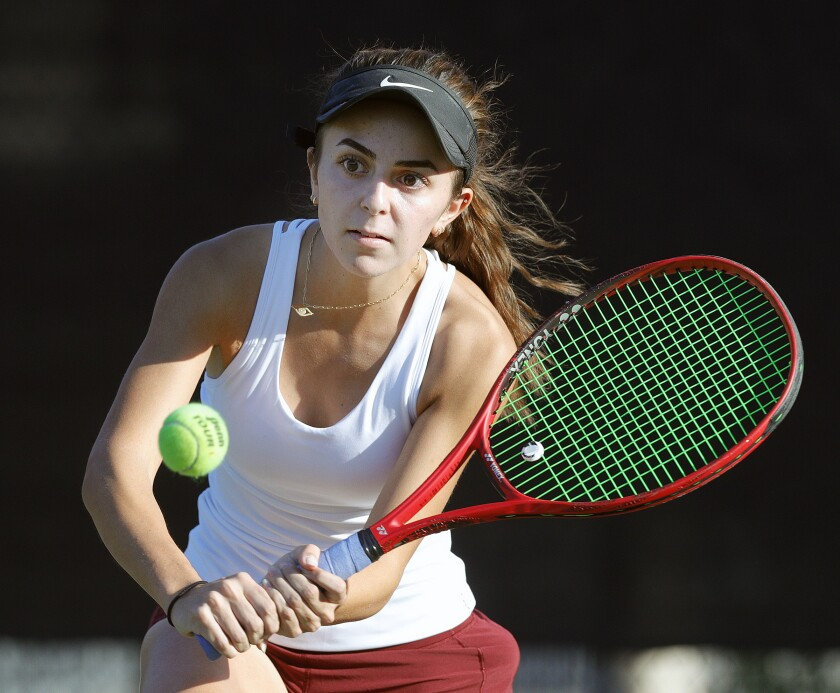 La Cañada High singles player Annabelle Kevakian hits a backhand return in a Rio Hondo League match against South Pasadena on Monday.