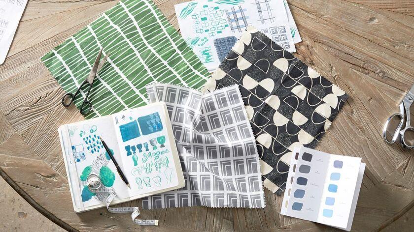 Swatches of Lauren Bencivengo's fabric designs.