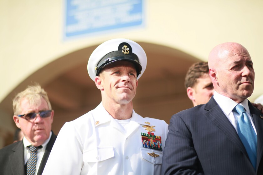 SAN DIEGO, CA - JULY 02:R, Navy Special Operations Chief Edward Gallagher celebrates after being acquitted of premeditated murder at Naval Base San Diego July 2 in San Diego. Gallagher was found not guilty in the killing of a wounded Islamic State captive in Iraq in 2017. He was convicted of posing for photos with the dead body of the captive. (Photo by Sandy Huffaker/Getty Images)