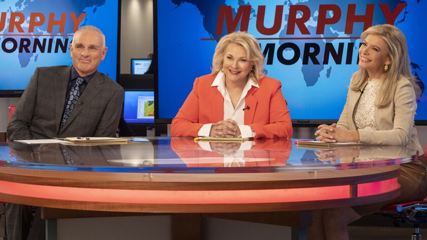 """Joe Regalbuto, left, Candice Bergen and Faith Ford in """"Murphy Brown"""" on CBS."""
