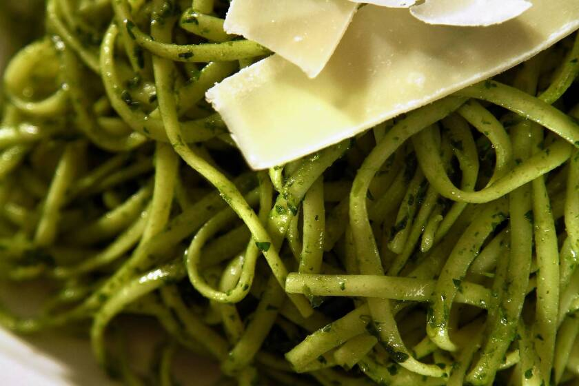 Dandelion pesto can take some work, but is delicious with pasta.