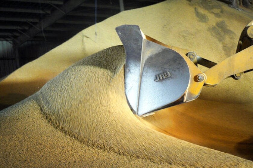 FILE - In this May 13, 2019, file photo, a loader piles soybeans at the Frontier Coop in Schuyler, Neb. China's government says importers have agreed to buy American soybeans and pork. The announcement comes as the two sides make conciliatory gestures ahead of trade talks next month. (AP Photo/Nati Harnik, File)