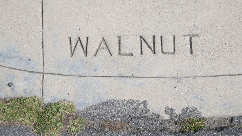 An embossed stamp naming Walnut Ave. in Huntington Beach. Local resident Mike Elliott is trying to p