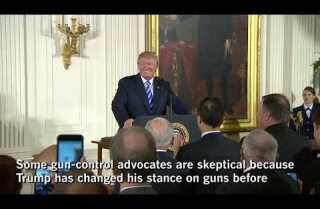 Trump 'supportive' of tougher gun law, but his record suggests that may not mean much