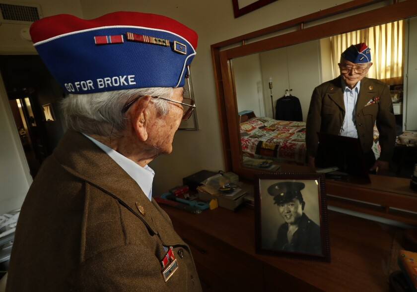 WHITTIER, CA-AUGUST 9, 2018: Yoshio Nakamura, 93, who was stationed in France and Italy while servi
