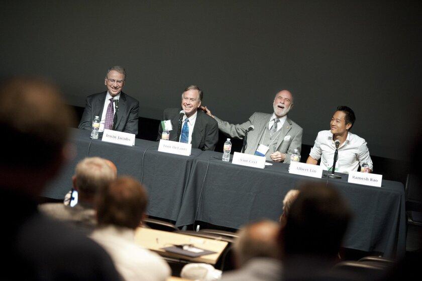 Panelists Irwin Jacobs, Tom DeFanti, Vint Cert and Albert Lin enjoy a light moment during the Marconi event. Photo: Eric Jepsen/UCSD