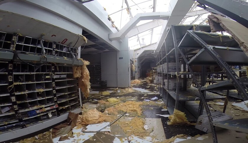 This image from video shows damage to a post office in St. Thomas, U.S. Virgin Islands.