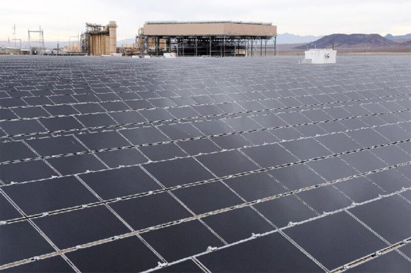 This 10-megawatt solar plant near Boulder City, Nev., will  provide electricity to Northern California. (Sempra Energy)
