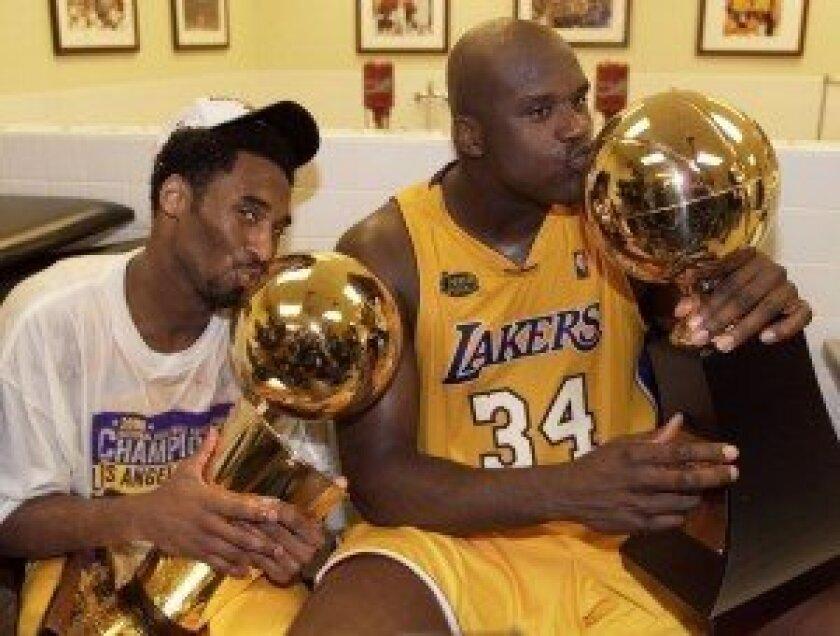Kobe Bryant and Shaquille O'Neal. Photo/Mike Blake