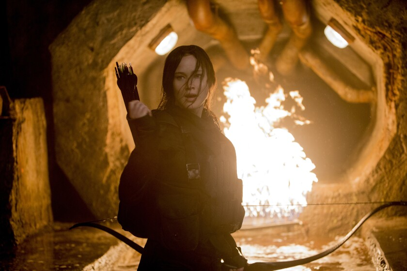 "Jennifer Lawrence as Katniss Everdeen in ""The Hunger Games: Mockingjay -- Part 2."""