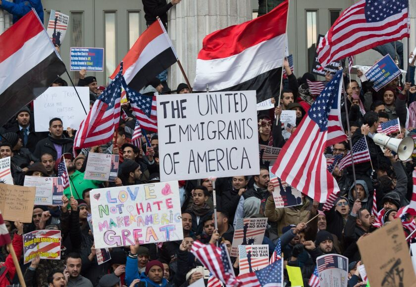 Protesters rally against the Trump administration's immigration policies in New York in February 2017.