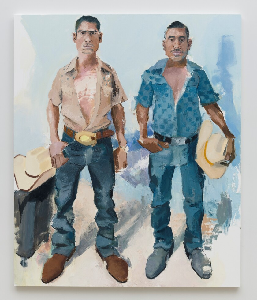 "John Sonsini's ""Byron and Fernando,"" 2019. Oil on canvas, 72 inches and 60 inches"
