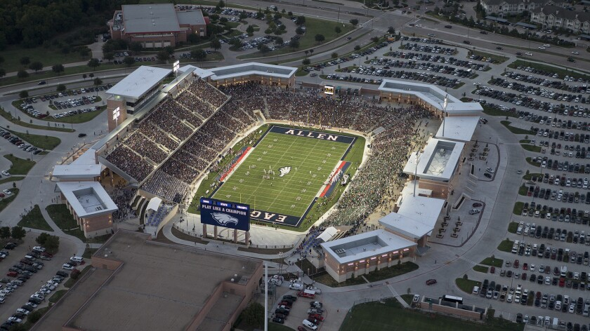 Eagle Stadium,home to the Allen High School Eagles football team, seats 18,000 and cost $60 million.