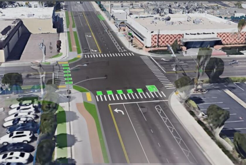 """Lane changes are part of plans for El Cajon's """"Main Street Green Street"""" project near the city's transit center."""