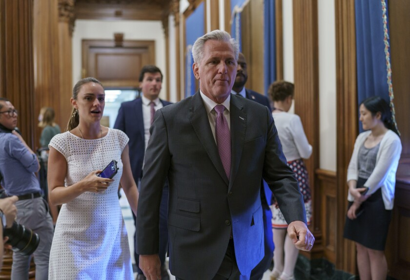 House Minority Leader Kevin McCarthy, R-Calif., walks to the chamber as the House returns following a recess, at the Capitol in Washington, Monday, June 14, 2021. (AP Photo/J. Scott Applewhite)