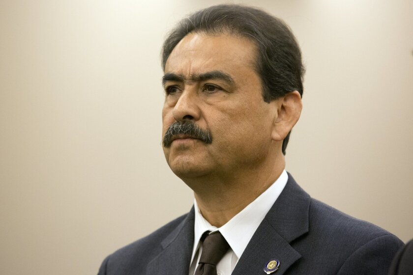 Ex-San Ysidro schools superintendent Manuel Paul appears for his 2013 arraignment before Judge Ana Espana in the South Bay Superior Court in Chula Vista.