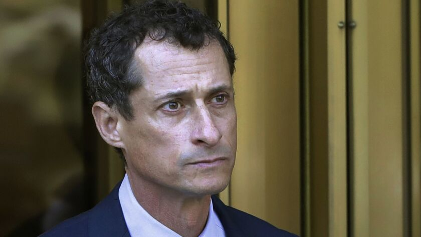 Former Rep. Anthony Weiner leaves federal court following his sentencing in New York in 2017.
