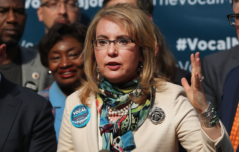 Former U.S. Rep. Gabrielle Giffords speaks during a visit to City Hall on her 2016 Vocal Majority Tour on Oct. 17, 2016 in New York City. Giffords, along with her husband NASA astronaut Mark Kelly, were asking people to vote for candidates who support gun violence prevention legislation.