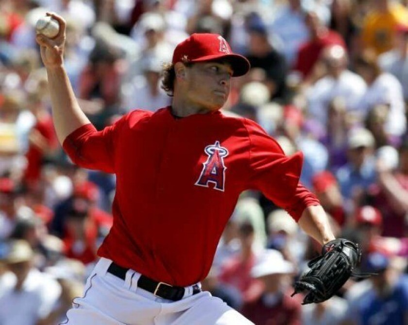 Garrett Richards pitches during spring training.