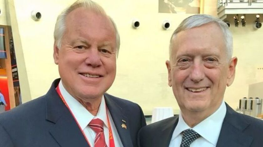 Supervisor Bill Horn, left, met Secretary of Defense Gen. James Mattis while attending the 50th reun
