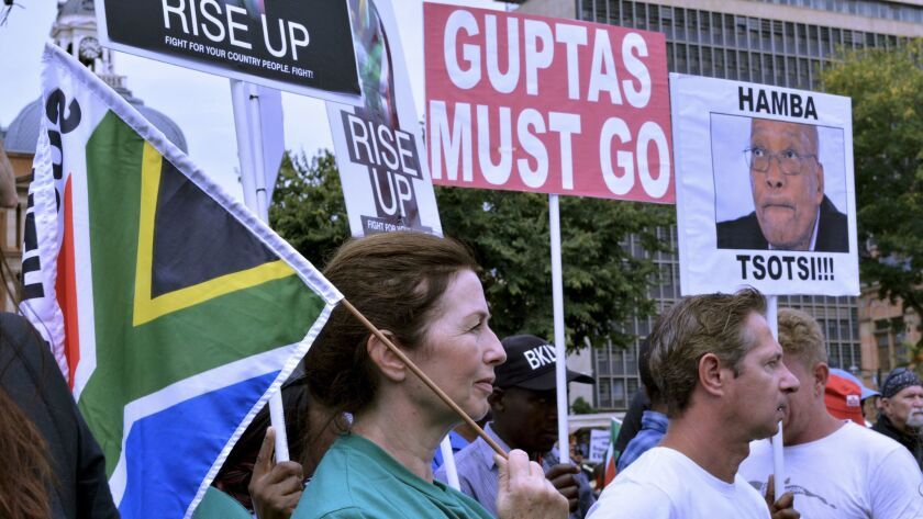 Protesters at Church Square in Pretoria at a rally calling for the resignation of South African Pres