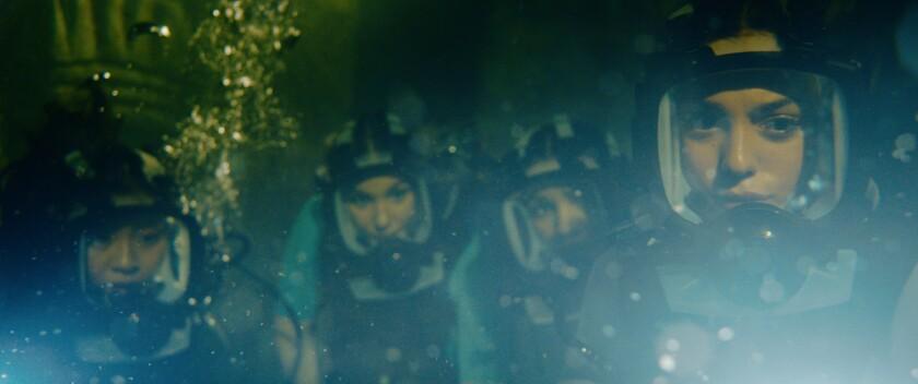 "Brianne Tju, Corinne Foxx, Sophie Nélisse and Sistine Stallone in the movie ""47 Meters Down: Uncaged."""