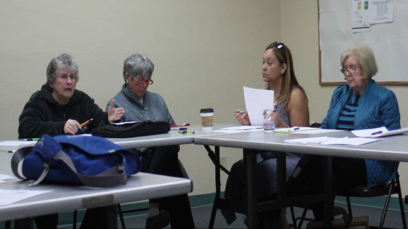 La Jolla Parks & Rec, Inc. members Mary Coakley Munk, Gail Forbes, Lizzet FitzCluster and Pat Miller at the Feb. 22 meeting