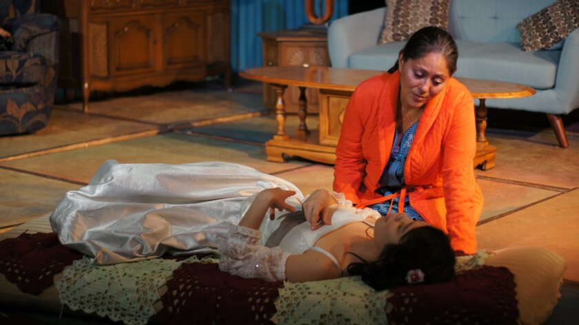 """7 p.m. Wednesdays; 8 p.m. Thursdays-Fridays; 4 and 8 p.m. Saturdays. Through July 2. Ion Theatre's BLKBOX, 3704 Sixth Ave., Hillcrest. $32. (619) 600-5020 or iontheatre.com. In """"Lydia,"""" a mystery woman with seemingly magical powers drops into a family home and utterly transforms the lives of those inside. As lyrical as Octavio Solis' play can be, though, """"Mary Poppins"""" it emphatically is not. Ion Theatre's San Diego premiere of the 2008 drama brings out the dark poetry in this story, set in 1970s Texas, of a troubled Mexican-American family that has reached a kind of equilibrium of misery. JAMES HEBERT"""