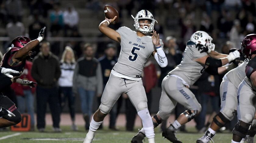 St. John Bosco's D.J. Uiagalelei throws a pass in November 2018.