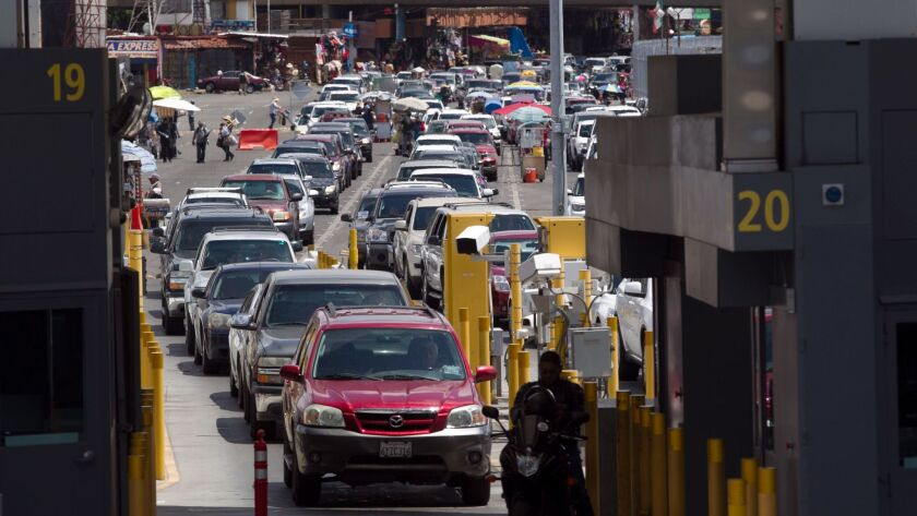 SAN DIEGO, CA. May 25, 2016: File photo of the San Ysidro border crossing is the busiest land border crossing in the world, each day handling an average of 133,000 crossings.