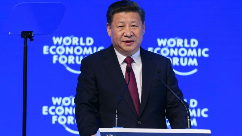 China's President Xi Jinping delivers a speech during the first day of the World Economic Forum, in Davos, Switzerland, on Jan. 17, 2017.