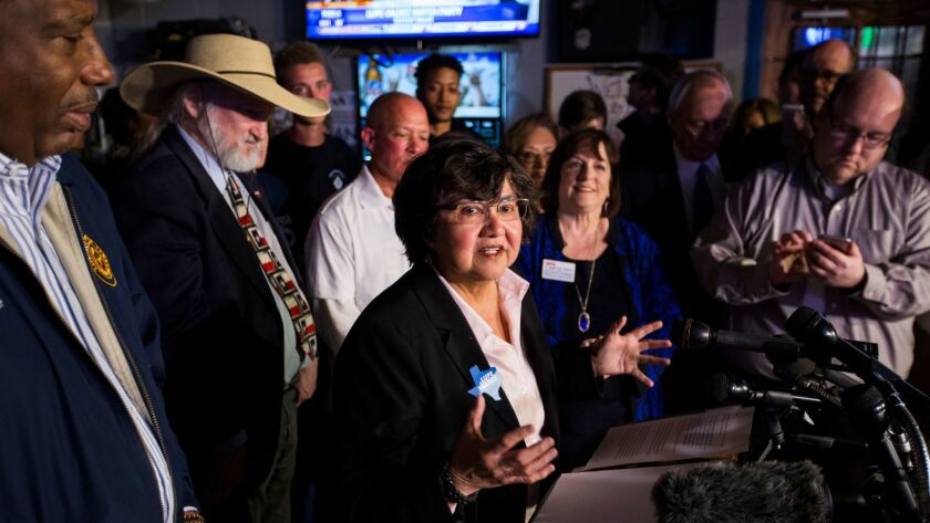 Gubernatorial candidate and former Dallas Sheriff Lupe Valdez reacts to early voting primary electio