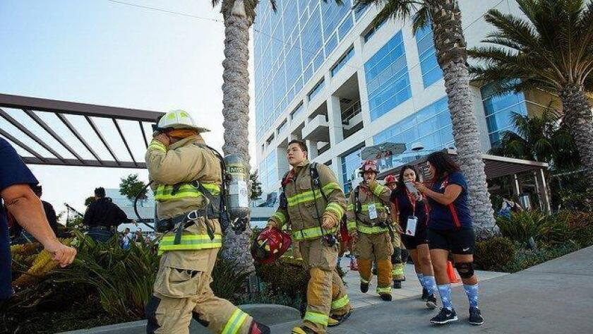 In remembrance of those who lost their lives in the tragedy of 9/11 - 15 years ago - the San Diego 9/11 Memorial Stair Climb invites locals to ascend 110 flights of stairs (the same number as in the twin towers) wearing the name of a fallen emergency responder whose life was lost. Firefighters, police officers, military personnel and civilians will join together either in teams or as individuals. - Michelle Dederko, DSD 8 a.m. opening ceremony; 8:45 a.m. first team begins to climb; Saturday. Hilton San Diego Bayfront, 1 Park Blvd., downtown. SOLD OUT. sandiegostairclimb.com (Courtesy photo)