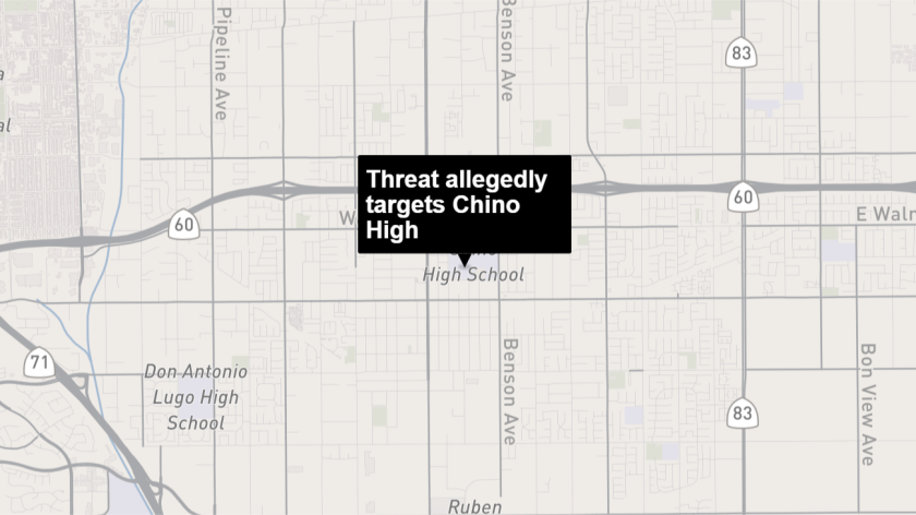 A social media threat was directed at Chino High School, police said.