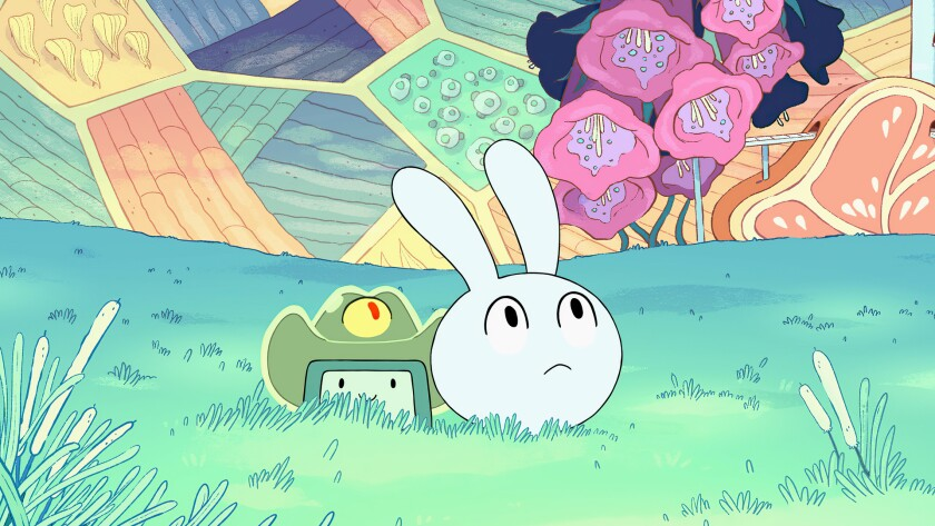 "BMO and new sidekick Y4 explore a space station pod in ""Adventure Time: Distant Lands"" on HBO Max."