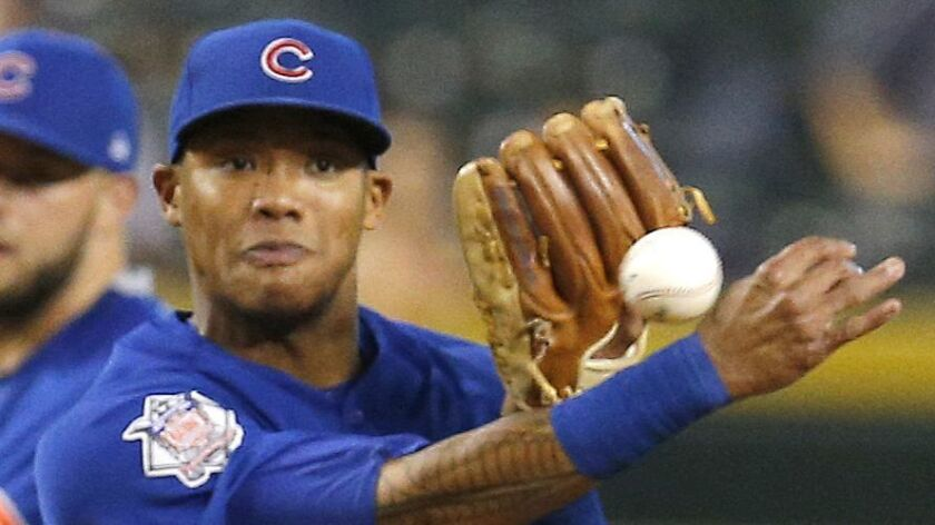 Chicago Cubs shortstop Addison Russell (27) during a baseball game against the Arizona Diamondbacks,