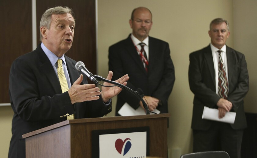 U.S. Sen. Dick Durbin, left, speaksduring a news conference on July 7, 2017, at the Gateway Regional Medical Center in Granite City, Ill.