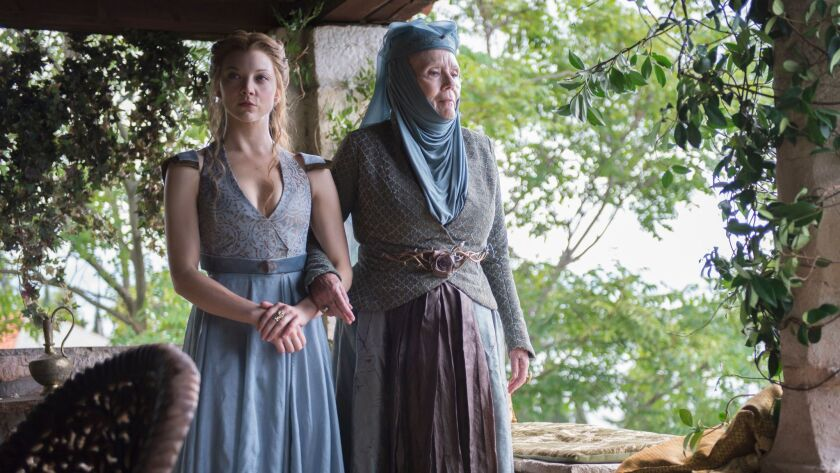 """Diana Rigg, right, with Natalie Dormer, in a Season 4 episode of """"Game of Thrones."""""""