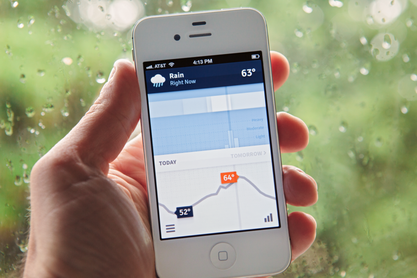 """The iOS app displays a live, visual minute-by-minute forecast that looks like an info graphic. Weathertron lets you scroll forward in small increments to see how the weather¿s looking two minutes from now or two hours from now. It also displays sky conditions, temperatures and associated """"warnings"""" for extreme temperatures that may be ahead of us this summer. While most weather apps use only one forecast model, Weathertron draws from up to 16 different data sources. All of this data is statistically aggregated and weighted, so you always have the most accurate results for your location."""