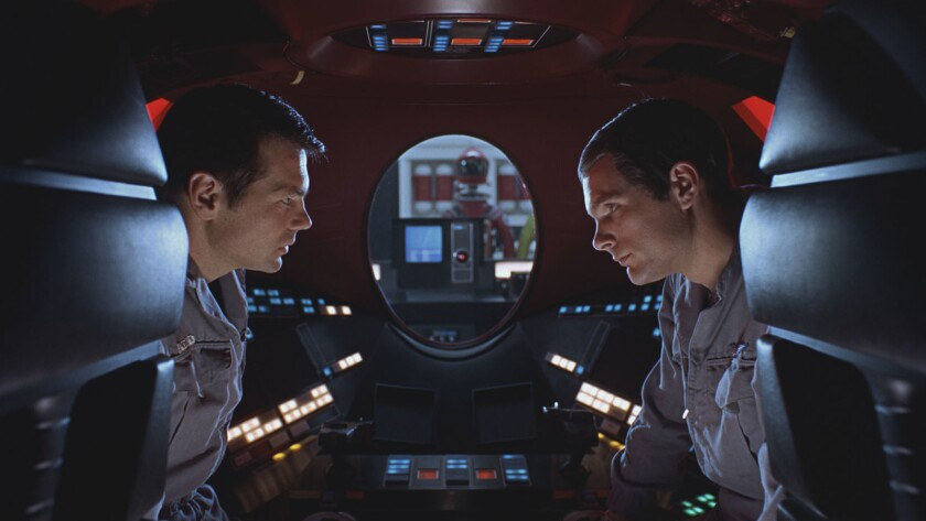 "Gary Lockwood, left, and Keir Dullea in the 1968 movie ""2001: A Space Odyssey."""