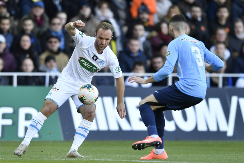 Marseille forward Valere Germain controls the ball during a game against Trelissac on Jan. 5