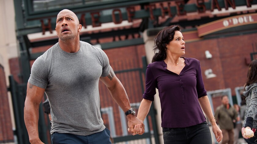 """Dwayne Johnson and Carla Gugino in """"San Andreas"""" on HBO."""