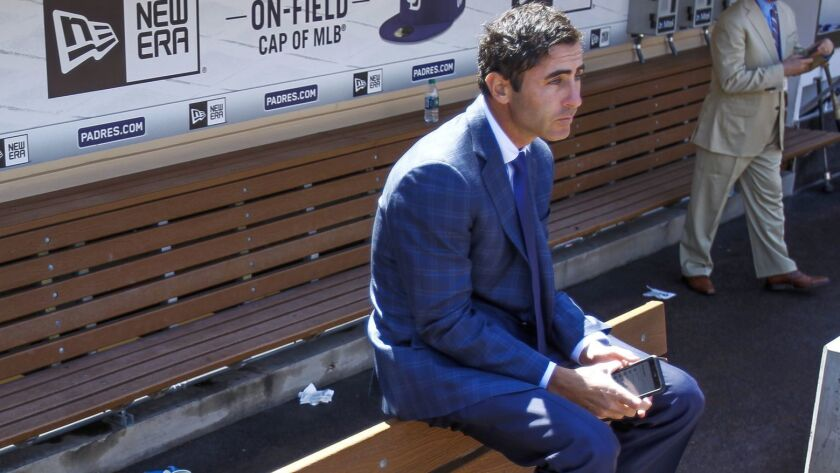 SAN DIEGO, March 29, 2018 | General manager of he Padres A.J. Preller sits in the Padres dugout befo