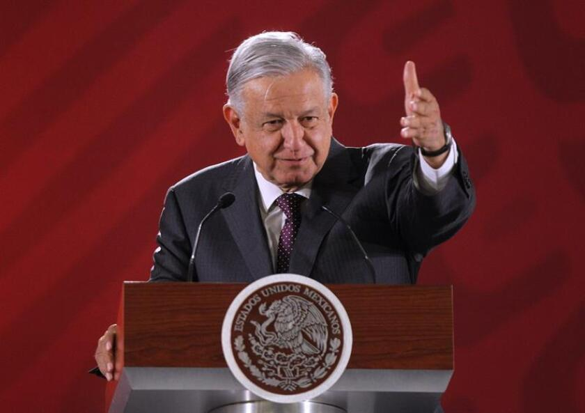 Mexican President Andres Manuel Lopez Obrador speaks on March 13, 2019, at his daily press conference at the National Palace in Mexico City. EPA-EFE/Mario Guzman