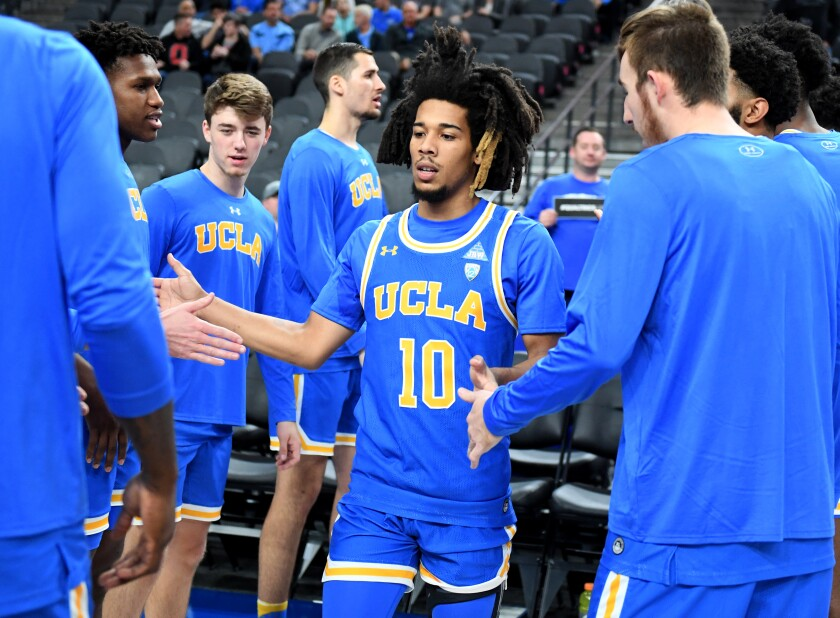 UCLA guard Tyger Campbell is introduced before a game against the North Carolina at on Dec. 21 at the CBS Sports Classic at T-Mobile Arena.