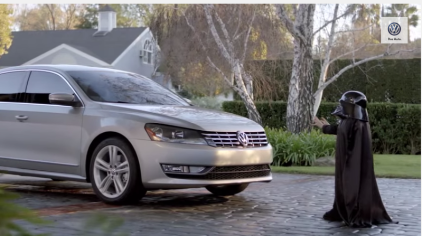 """In Volkswagen's Super Bowl ad """"The Force"""" from a few years ago, a boy summons his Vader-like powers to start a car."""