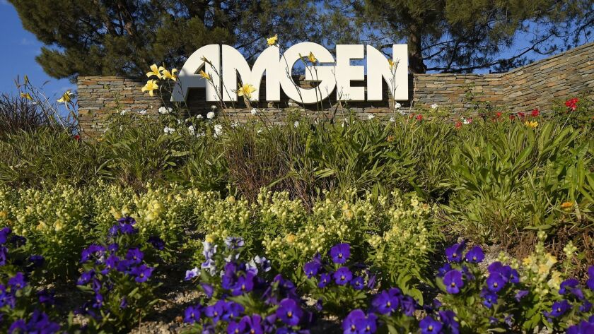 The entrance to Amgen Inc. in Thousand Oaks in 2014.